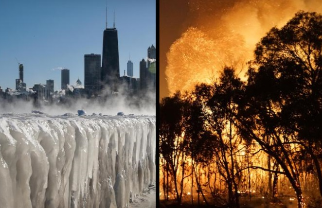 US Reels From Cold, Australia From Heat